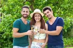 Three smiling friends celebrating with champagne. Royalty Free Stock Photos