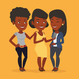 Three smiling friends looking at mobile phone. Royalty Free Stock Images