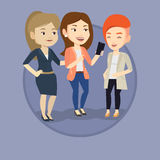 Three smiling friends looking at mobile phone. Stock Photo