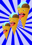 Three smiling ice cream cone on a striped background. vector Royalty Free Stock Photography
