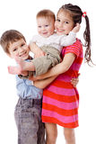 Three smiling kids together Royalty Free Stock Images