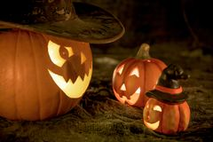 Three smiling pumpkins royalty free stock photos