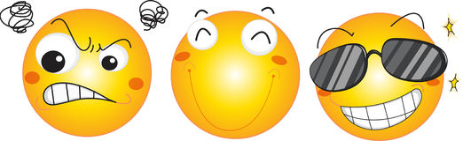 Three smily faces. Smiley face illustration collection on white Royalty Free Stock Photography
