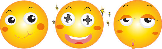 Three smily faces Stock Images