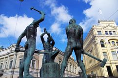 The Three Smiths Statue Helsinki Stock Photos