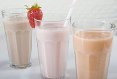 Three smoothie drinks in a row Royalty Free Stock Image