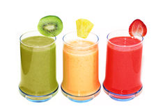 Three Smoothie Glasses Royalty Free Stock Photos