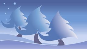 Three snow trees. In snow and stars on the sky Royalty Free Stock Photography