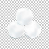Three Snowballs Isolated On Transparent Background. Vector Illus Stock Images