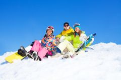 Three snowboarders Royalty Free Stock Image