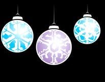 Three Snowflake Ornaments Stock Photos
