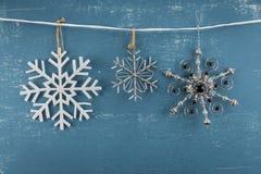 Three Snowflake Ornaments stock photo