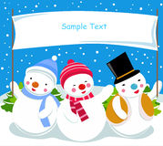 Three snowman and banner. Illustration of three snowman and banner Stock Images