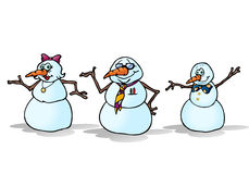 Three snowman family Stock Photos