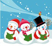 Three snowman singer,Carolers Royalty Free Stock Photos