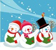 Three snowman singer,Carolers. Illustration of three snowman singer,Carolers Royalty Free Stock Photos