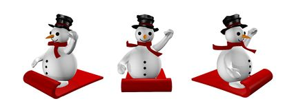 Three snowman in sled in white Stock Photo