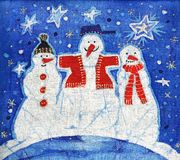 Three snowmans Stock Images