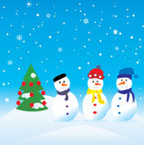 Three snowmen. Vector three snowmen and christmas tree Royalty Free Stock Image