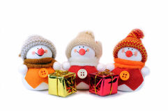 Three snowmen Royalty Free Stock Images