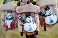 Three Snowmen on Sleds Royalty Free Stock Photo