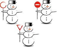Three snowmen. With traffic signs Stock Image