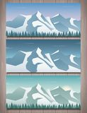 Three snowy landscapes banner with wild nature, mountains. And snow trees. Winter holidays. Vector illustration royalty free illustration