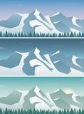 Three snowy landscapes banner with wild nature, mountains. And snow trees. Winter holidays. Vector illustration vector illustration