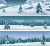 Three snowy landscapes banner with wild nature, mountains and snow trees. Winter holidays. Vector. Illustration vector illustration