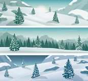 Three snowy landscapes banner with wild nature, mountains and snow trees. Winter holidays. Vector. Illustration stock illustration