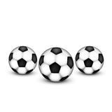 Three soccer ball on a white background. Royalty Free Stock Images