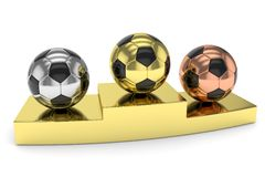 Three soccer balls on golden. 3D rendering. Royalty Free Stock Photography