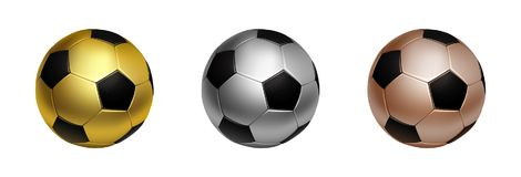 Three soccer football ball in gold, silver and bronze for first second and third awards, isolated on the white. Three soccer football ball in gold, silver and Stock Photography