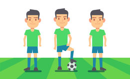 Three soccer players on green field vector illustration. Sport team player Royalty Free Stock Images