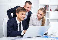 Three sociable coworkers different sexes working in company offi Royalty Free Stock Photography