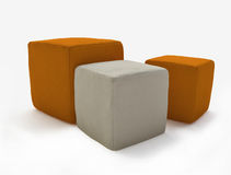 Three Soft Leather Stools Stock Photos