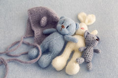 Three soft toy bears. And a white hare Royalty Free Stock Photos