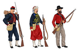 Three Soldiers from American Civil War Royalty Free Stock Image