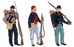 Three Soldiers from American Civil War Royalty Free Stock Photography