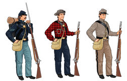 Three Soldiers from American Civil War Royalty Free Stock Images
