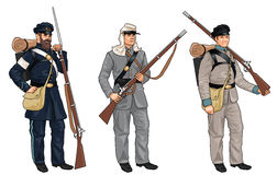 Three Soldiers from American Civil War Stock Image