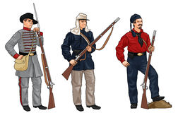 Three Soldiers from American Civil War Stock Photography
