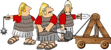 Three soldiers and a catapult Royalty Free Stock Image