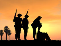 Three Soldiers Ready and Alert for Battle Royalty Free Stock Images