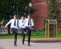 Three soldiers taking part in Changing of Honor Guard Stock Image