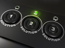 Three solutions. Three buttons labelled 1, 2, 3 for three solutions, the second solutions is highlighted with a green led Stock Photo