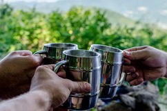 Three some cheers. In the camp royalty free stock photos