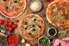 Three sort of pizza. And ingredients Stock Image
