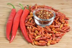 Three sorts of chilies Royalty Free Stock Photos