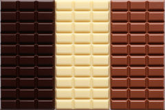 Three sorts of chocolate. 3 different sorts of chocolate in a stack stock photos